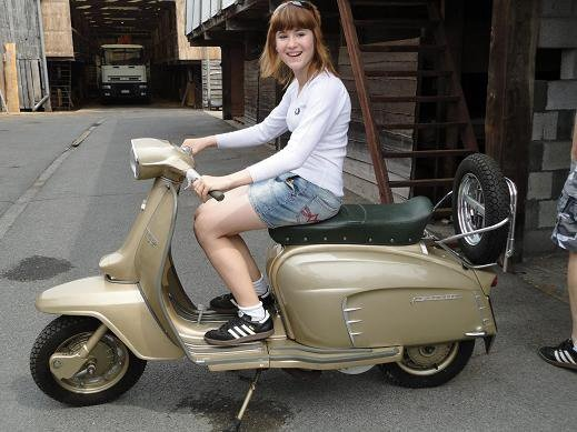 girl with her dad lambretta