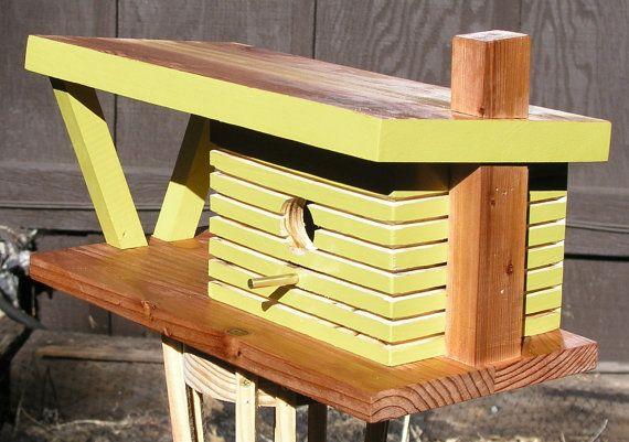 Urban , Mid Century Modern Birdhouse. Industrial Birdhouse, Cubist Birdhouse, Dark Chartreuse Birdhouse, Pistachio Color, Spring New Leaf on Etsy, $140.00