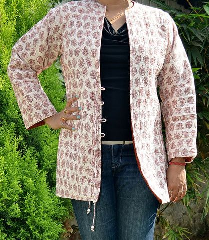 Bagh Cotton Paisley Print Quilted Long Jacket