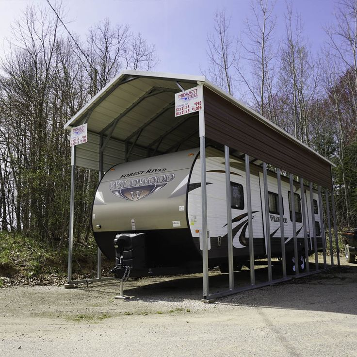 25 best ideas about rv carports on pinterest rv shelter for Motorhome garage kits