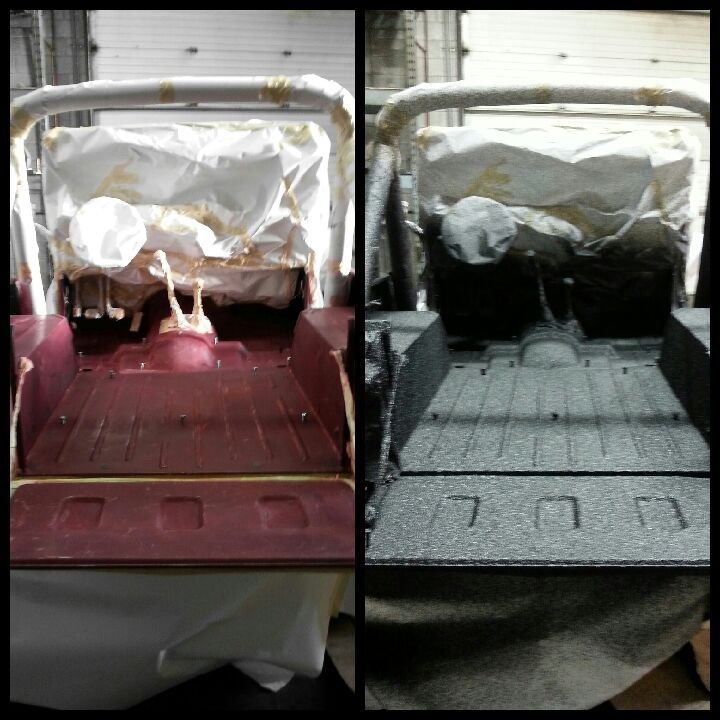 Before and after pictures of Jeep interior sprayed with Reflex