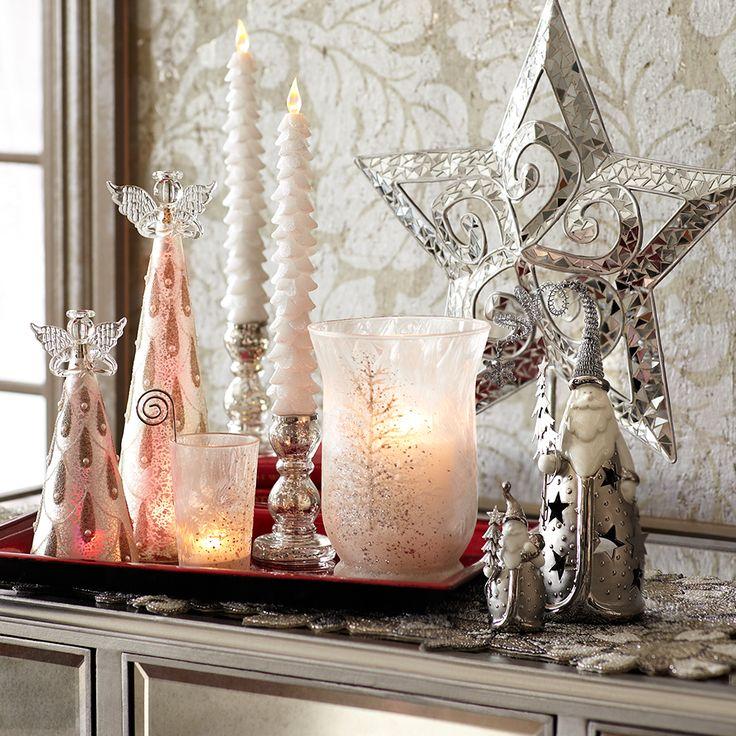 Silver Snowfall candleholders and  Christmas decor