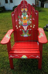 "Description of . The ""Scandinavian Folk Art\""  chair by Pat Post is part of the Highway 8 Chairs project in Chisago County. (Pioneer Press: Jean Pieri)"