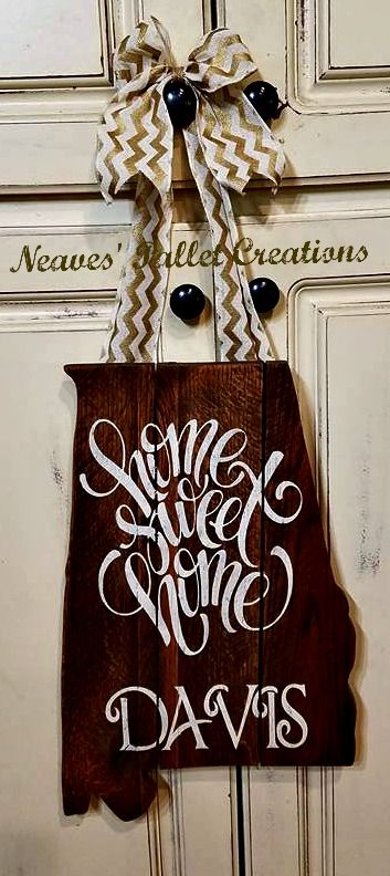 """RECYCLED WOOD PALLET: ALABAMA State Outline Door Hangers.  They are 20"""" x11"""" and hang about 28"""" from the burlap hanger to the bottom of the Door Hanger. Message us if you have any questions or are interested in allowing us to make a State Door Hanger for you or a friend. These sold for $28 each.   Item # 1,093"""