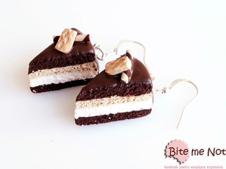 Biscuit-vanilla-chocolate pastries with wafer! -Silver plated hook earrings , chocolate-vanilla-biscuit pastries with chocolate topping and little wafer , made from polymer clay.