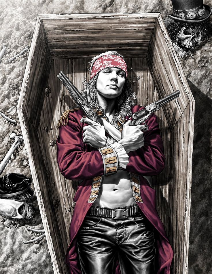 Axl Rose (see more on http://www.tranchesdunet.com/illustrations-lee-bermejo/ )