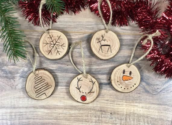 Wood Slice Ornament Set Set Of 5 Wood Burned Christmas Rustic Ornament Set Tree Ornament Log Slice Ornament Wood Christmas Ornaments Wood Slice Ornament Rustic Ornaments