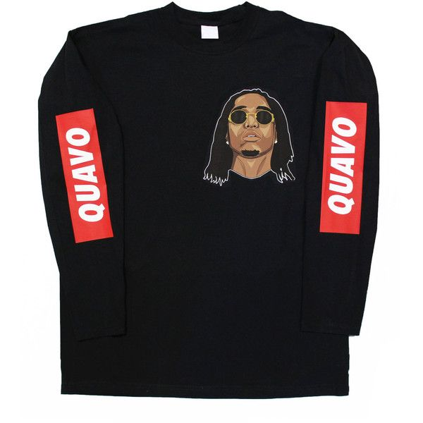 Quavo Migos Long Sleeve T Shirt ($30) ❤ liked on Polyvore featuring tops, t-shirts, low crew neck t shirt, crewneck tee, low top, long sleeve crew tee and long sleeve fitted tee