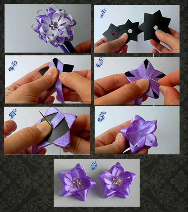 Faça Você Mesmo - Flor em forma de estrela com fita de cetim
