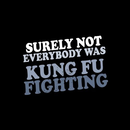 Surely not everybody was Kung Fu fighting T-Shirt  #everybodywaskungfufighting #kungfu #martialarts #music #funny #carldouglas #1974 #songs #onehitwonder #typography #tshirts #shirts