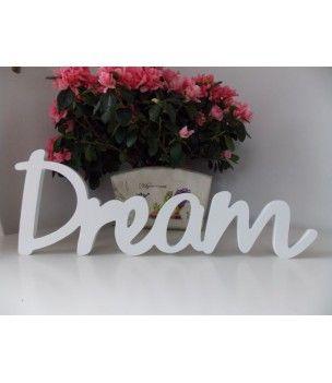 Napis biały na ścianę 3d DREAM