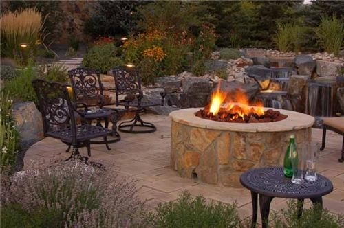 Fire Pit Patio And Waterfall House Pinterest Fire