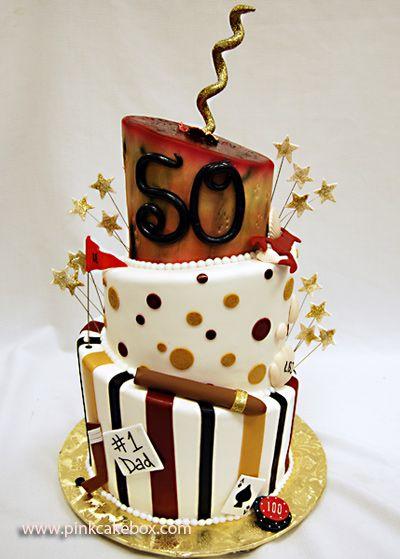 50th Birthday Topsy Turvy Cake by Pink Cake Box