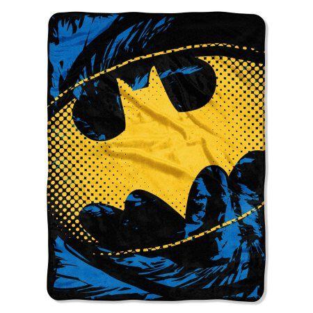 Warner Bros. Batman Ripped Shield 46 inch x 60 inch Micro Raschel Throw, Multicolor