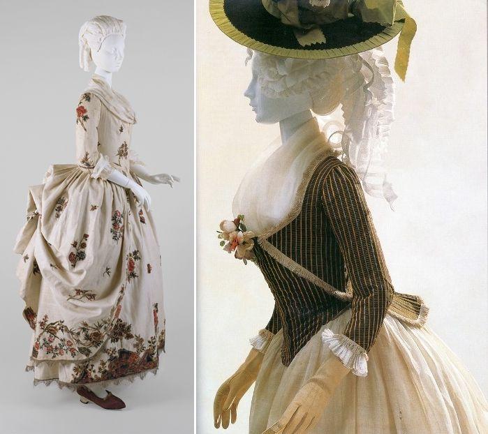 """Пусть в последней четверти XVIII века платья """"франсез"""", во французском стиле, с широкими юбками, стали сдавать позиции и надевали их в основном ко двору; но ведь и входившие тогда в моду платья """"англез"""", в стиле английском, и """"полонез"""", и жакеты """"карако"""" с юбками – все они подчёркивали тонкую талию, которая всё ещё была на привычном месте, и контрастировала с пышными складками юбок."""