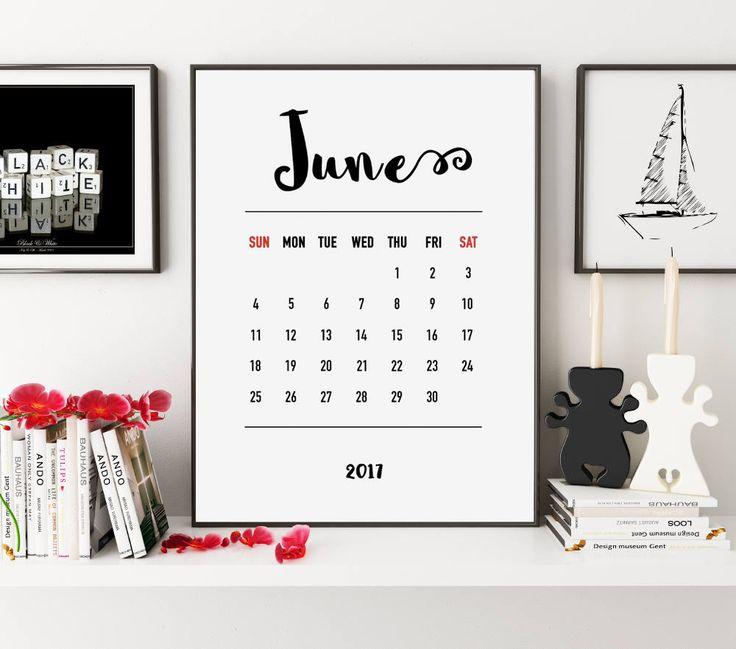June 2017 Calendar, Printable Calendar, Monthly Planner, Calendar 2017, Monthly Calendar, Wall Print, Downloadable Calendar