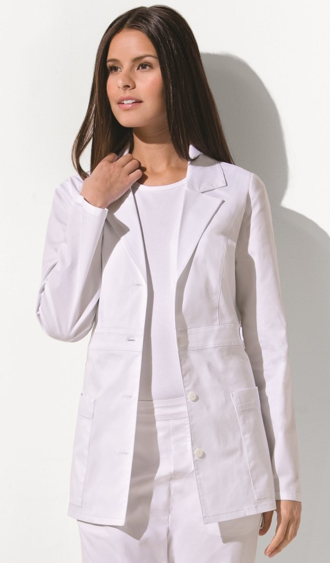 Original Junior Fit utility lab coat features princess seaming for added shape, utility snap details, two large patch pockets for accessory storage, multi-needle top stitching and a back belt.