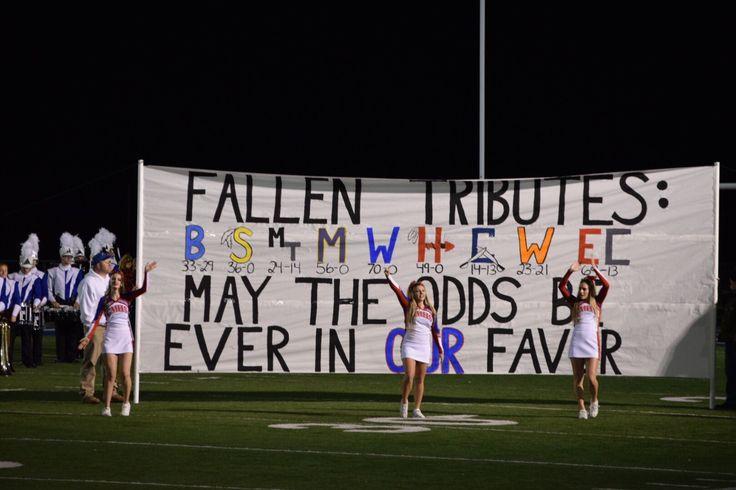 Football Run Through Banner Massie Fallen tributes Falcons playoffs high school