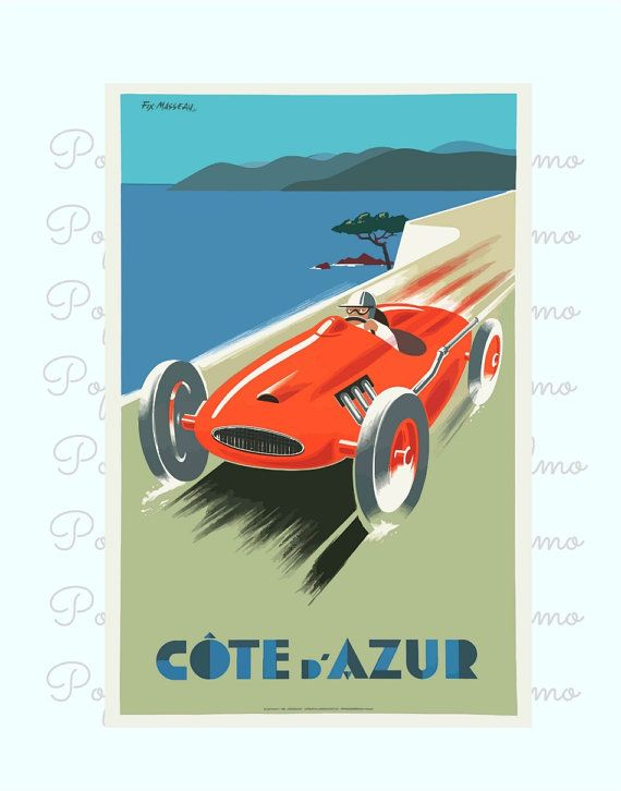 Cote D Azure Poster French Riviera France by BonniePrintsElmo