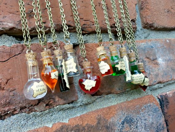 Potion Bottle Necklaces, Witch, Witcher, Halloween, Costume, Cosplay, Party Favor, Decor, Love Potions, Spider, Snake, Wizard, Dragons, Bats