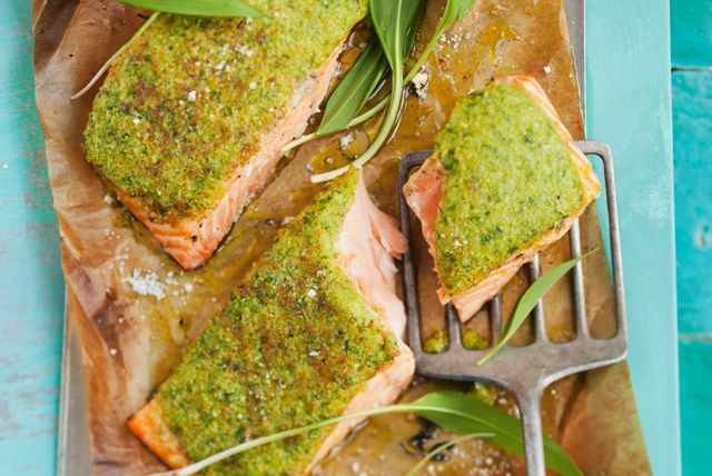 Our Baked Salmon with Herb Crust is a great recipe choice for a busy weeknight.  Topped with fragrant fresh herbs, garlic and panko bread crumbs, this quick-and-easy salmon dish can be ready to enjoy in about 30 minutes.