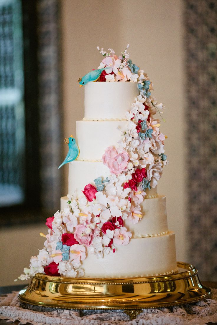 Whimsical Floral - Fairytale Wedding Cake - love those toppers! Ordering them for sure!