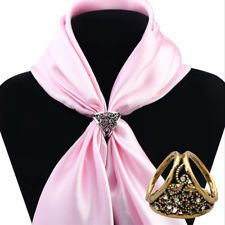 Vintage Silk Scarf Buckle Brooches Flower Hollow Scarf Ring Clip Jewelry Gifts