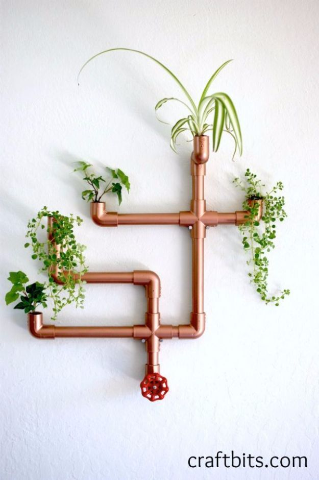 Creative DIY Planters - DIY Copper PVC Wall Planter - Best Do It Yourself Planters and Crafts You Can Make For Your Plants - Indoor and Outdoor Gardening Ideas - Cool Modern and Rustic Home and Room Decor for Planting With Step by Step Tutorials http://diyjoy.com/diy-planters