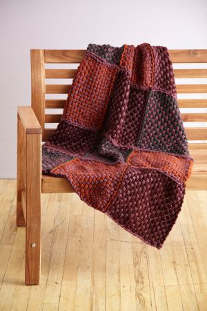 Loom Woven Small Afghan: Easy to weave with the Martha Stewart Crafts Lion Brand Yarn Knit & Weave Loom Kit. Free pattern. A lot more rewarding than potholders. #Afghan #Loom #Martha_Steart #Lion_Brand