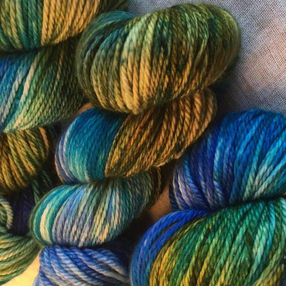 Blue Green Aqua Hand Dyed 10ply Aran Weight Merino Wool