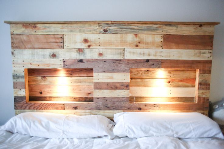 Gorgeous handcrafted, solid wood headboard made primarily out of old pallets. The wood has been washed and sanded for heath and safety purposes. Installed and ready to use electrical outlets in the shelving to charge your cell phone or tablet... ect. Touch lighting for ambiance and/or reading purposes. This headboard can be customized as far as staining or paint finishes, height and bed size. Easy to install or if sold locally I can install it for you.