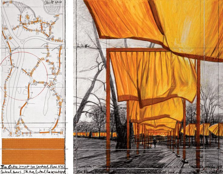 """Christo, """"The Gates (Project for Central Park NYC),"""" 2003. 1. 30 1/2 x 12"""" (77.5 x 30.5 cm); 2. 30 1/2 x 26 1/4 (77.5 x 66.7 cm). Pencil, Fabric, Wax Crayon, Charcoal, Enamel Paint, Pastel, Map, and Fabric Sample."""