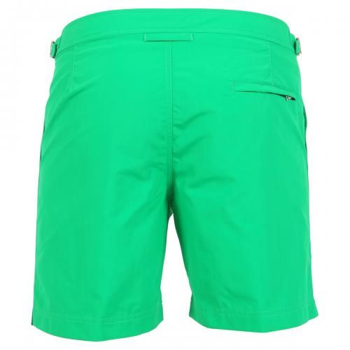 BULLDOG GREEN NYLON MID-LENGTH BOARDSHORTS Bulldog green nylon mid-length swim shorts with two front pockets and back zippered pocket. Side adjustable straps with metal buckle. Internal net. Snap button and zipper closure. COMPOSITION: 100% POLYAMIDE. Internal net: 100% POLYESTER. Model wears size 32 he is 189 cm tall and weighs 86 Kg.