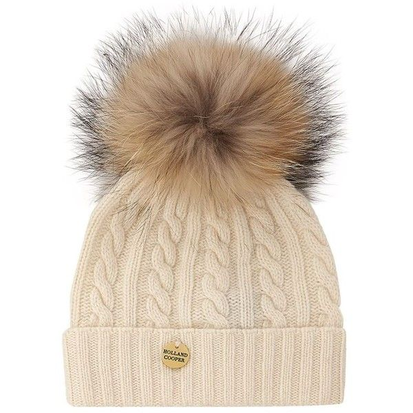 Holland Cooper Racoon Pom Pom Hat (155 AUD) ❤ liked on Polyvore featuring accessories, hats, pom pom hat, cable hat, cable knit hat, fur bobble hat and pompom hat