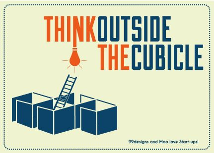 Think Outside the Cubicle - stickers and postcards on Behance