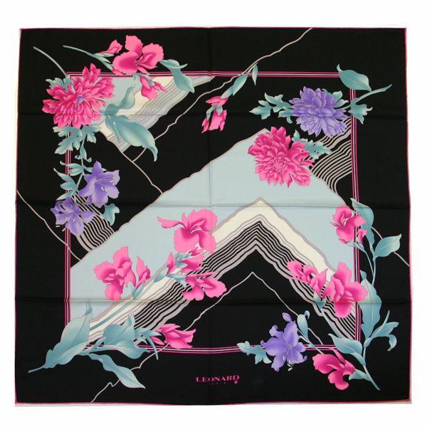Clearance Special – Leonard L9090M-S7268 4 Floral Silk Scarf – Black/Pink
