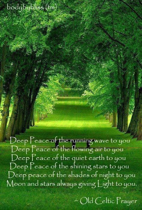 Old Celtic Prayer: Deep Peace of the running wave to you. Deep Peace of the flowing air to you. Deep Peace of the quiet earth to you. Deep Peace of the shining stars to you. Deep Peace of the shades of night to you. Moon and stars always giving Light to you.