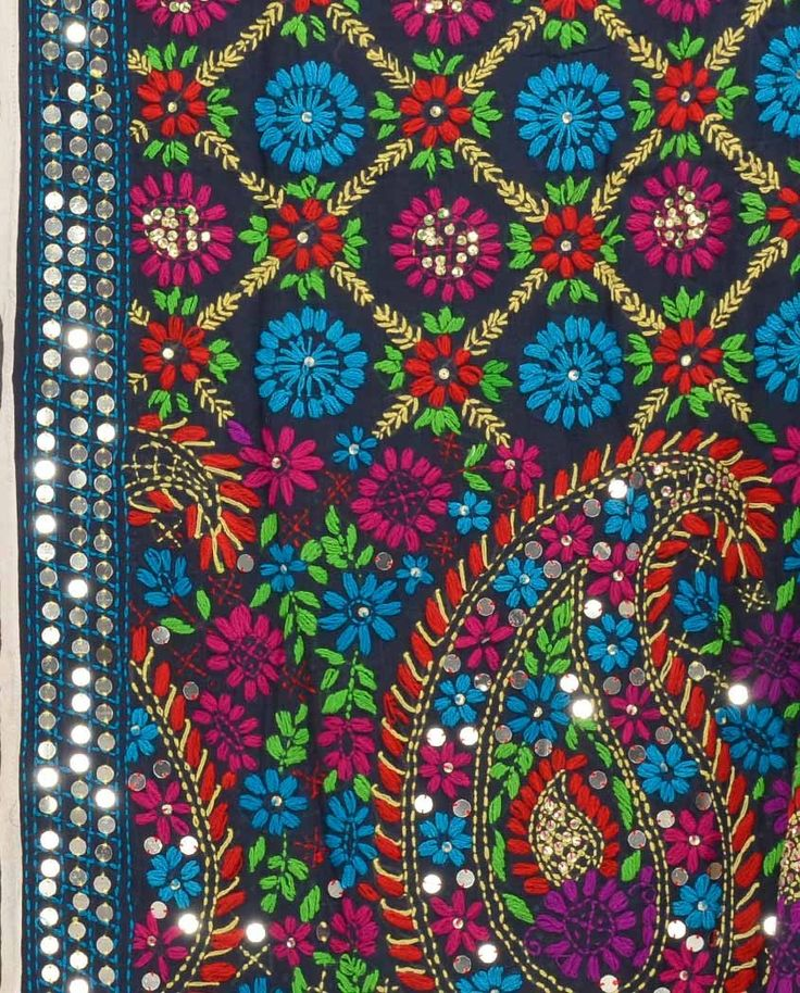 Mid Night Blue Wrap with Phulkari Embroidery