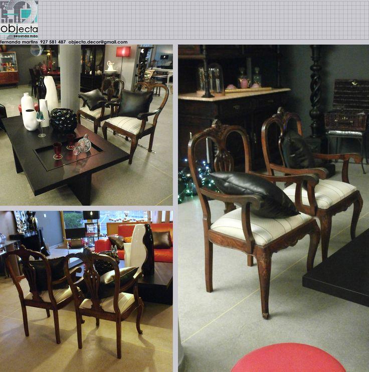 CADEIRÕES (par) antigos, de madeira maciça (também temos 6 cadeiras)... resultam em qualquer estilo de ambiente e em qualquer espaço da casa.....