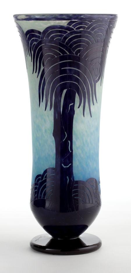 ❤ - SCHNEIDER GLASS PALMIERS VASE  Charles Schneider Glassworks, Épinay-sur-Seine, France, circa 1928