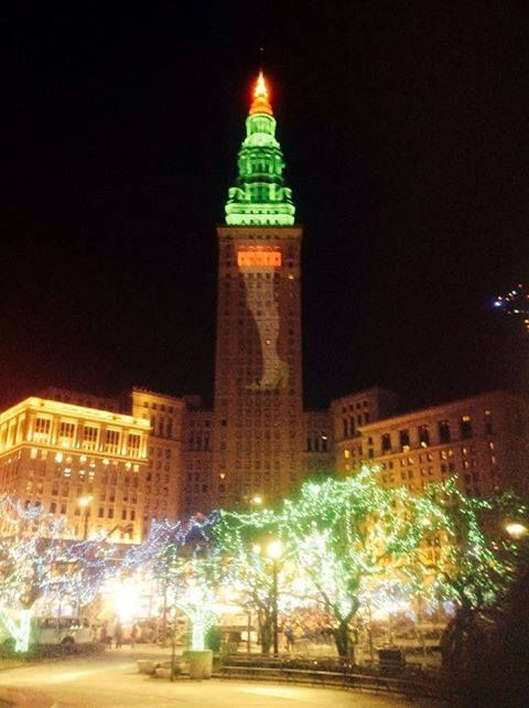 """Cleveland's Terminal Tower is lit up like the infamous leg lamp from the movie """"A Christmas Story"""" marking it's 30th anniversary.   Partially filmed on Public Square in downtown Cleveland, """"A Christmas Story"""" is one of our favorite holiday movies. Which movie gets you in the holiday spirit?"""