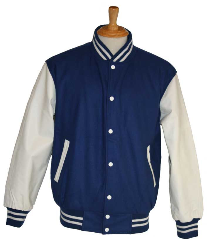 Royal blue wool with White leather sleeves - in stock and available for immediate delivery through our Facebook store  https://www.facebook.com/TeamVarsityJackets