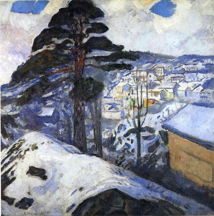 Winter, Kragero - Edvard Munch -- this painting reminds my so much of Lead Deadwood area