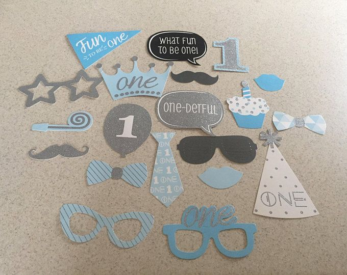 first birthday Photo Booth Props 20 Piece Set - Party Photo Props - baby boy birthday Party Favor, 1st baby boy props , 1st birthday props