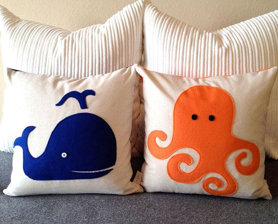 I heart this for Connor's room when it is time to redecorate... Blue Whale Cotton and Felt Pillow Cover by ekofabrik on Etsy, $65.00