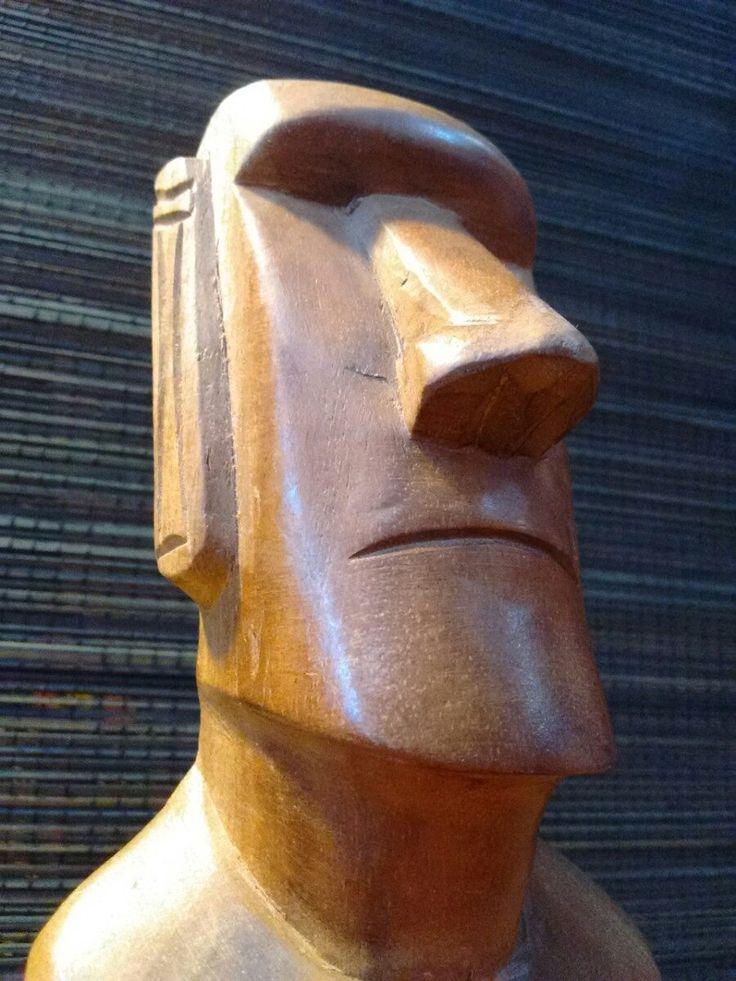 """madera el nombre de la obra es """"moai isla de pascua rapa"""". desconozco la fecha de creación y el autor de la obra. elegí esta obra por la procedencia e los verdaderos moais"""