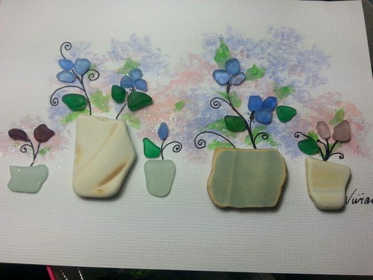 Etsy sea glass art flowers