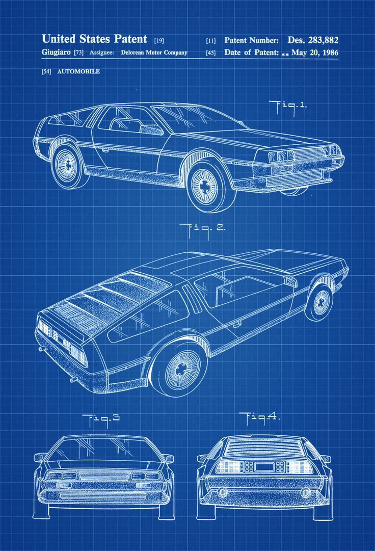 Delorean Automobile Patent - Patent Print, Wall Decor, Automobile Decor, Vintage Automobile Art, Classic Car, Vintage Delorean by publiclens on Etsy