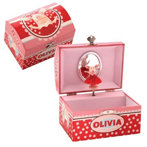 Olivia Jewelry Box by Schylling. $18.99. From the Manufacturer                Olivia is today's girl.  She a 6-3/4 year old dynamo who believes she can be or do anything.  Olivia's confidence inspires girls everywhere to think boldly and to dream big.  This Olivia Jewelry Box is adorable.  Just open the lid, and Olivia begins to twirl around to the music.  Also includes a separate drawer and an area for storing rings.  Great for storing little treasures.  Ages 8 and up.  ...