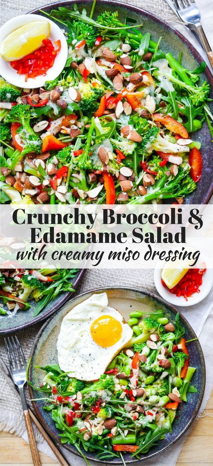 This crunchy broccoli edamame salad is finished with a creamy miso dressing. Dairy free, gluten free and vegan friendly! Recipe at nourisheveryday.com